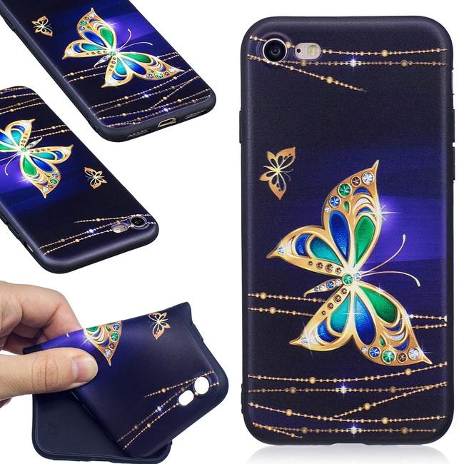 Gumový kryt Gold Butterfly na iPhone 7   iPhone 8 - čierna - Bakamo ... 3e760040939